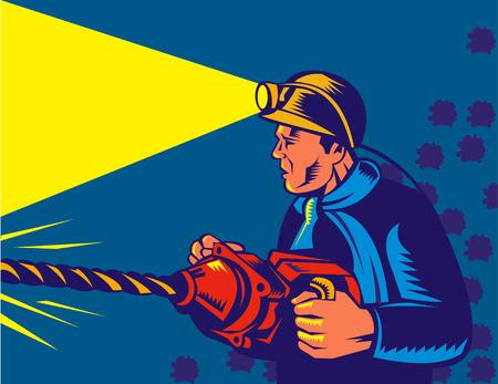 Minatore al lavoro con martello pneumatico