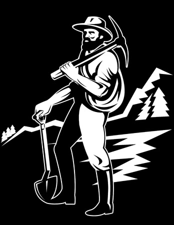 coal miner with pick axe Stock Vector - 5551436