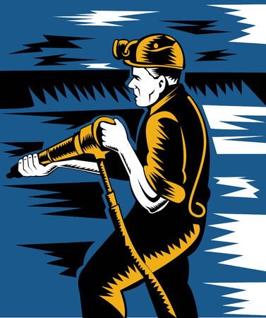 Coal miner at work with pneumatic drill Stock Vector - 5551438
