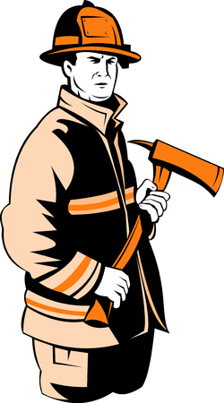 fullbody: Fireman or firefighter carrying an axe