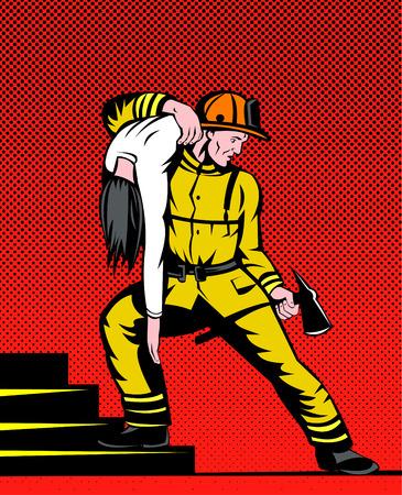 Fireman saving girl Vector