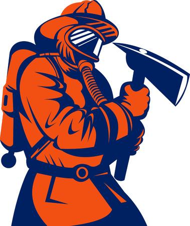 axe: Fireman or firefighter carrying an axe