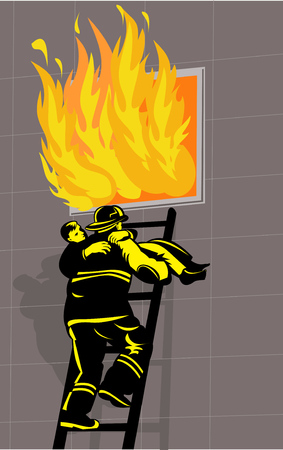 rescuing: Firefighter saving or rescuing a boy from a burning building climbing down ladder Illustration