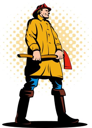 Fireman or firefighter carrying an axe Vector