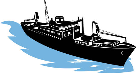 Freighter ship aerial view  Vector