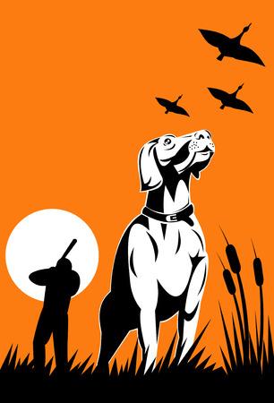 Hunter en zijn retriever hond met wilde vogels vliegen