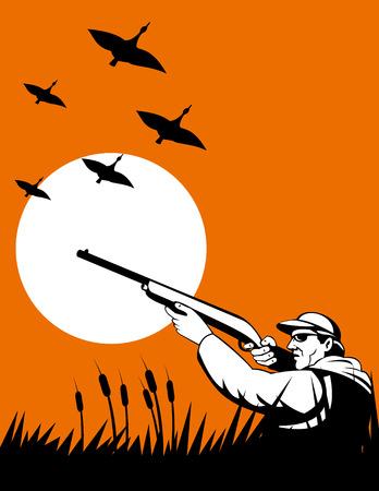 Hunter sparare agli uccelli selvatici Vettoriali