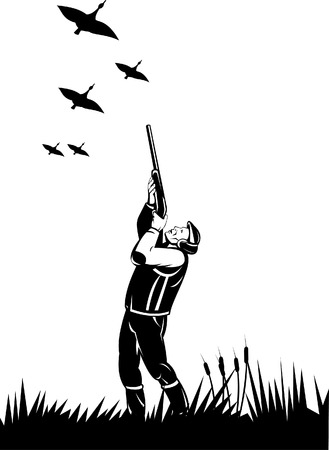 Hunter shooting at wild birds Stock Vector - 5551440