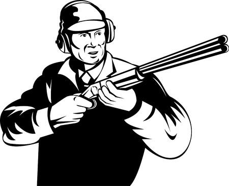 Hunter aiming his rifle Vector