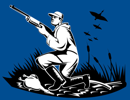 Hunter shooting at wild birds Vector
