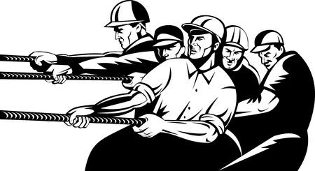 fullbody: equipo de trabajador de la construcci�n tirando de la cuerda