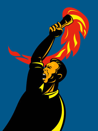 Man holding a flaming torch Stock Vector - 5589594