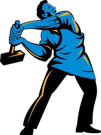 fullbody: Trabajador masculino con un martillo de trineo Vectores
