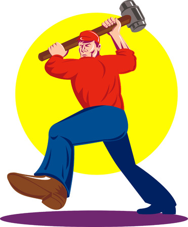 fullbody: Trabajador de sexo masculino con un martillo