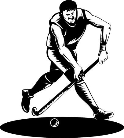 hockey sobre cesped: Jugador de hockey sobre c�sped que se ejecuta con bola