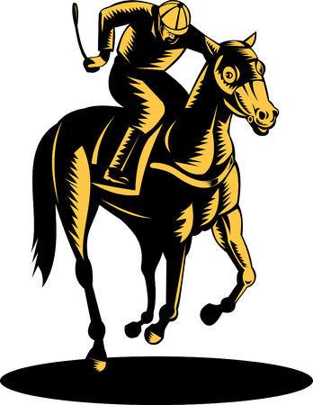 Horse and jockey on a winning run Vector