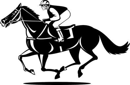 jockey: Caballo y jockey de una carrera ganadora Vectores