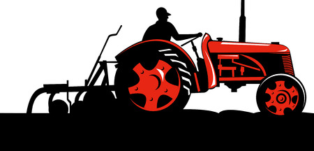 Farmer driving a vintage tractor Stock Vector - 5628805