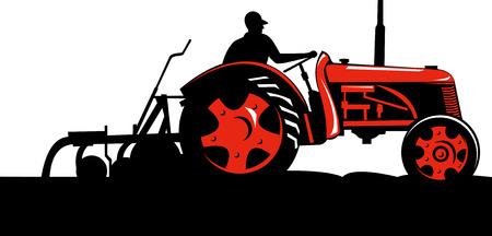 crop: Farmer driving a vintage tractor