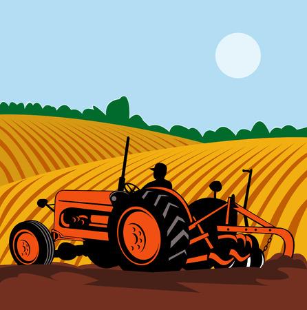arando: Farmer en tractor arando campo  Vectores