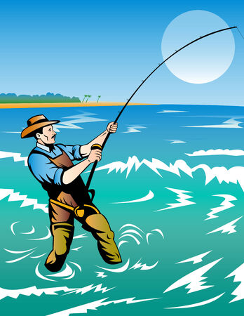 outdoor pursuit: Fisherman surf casting Illustration