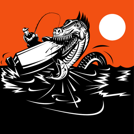 Sea monster devouring boat with fisherman Vector