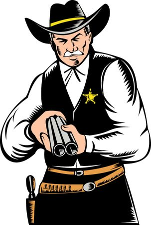 man pointing up: Illustration of a Sheriff pointing a shotgun at you