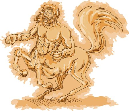 centaur: Illustration of a Centaur angry and rearing up