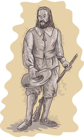 quaker: illustration of a Pilgrim standing holding a musket rifle