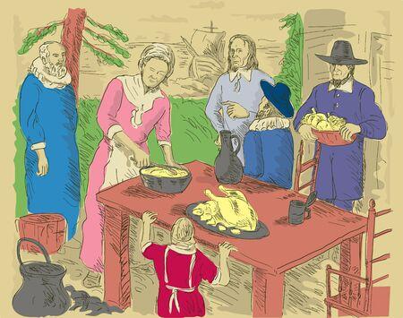 hand drawn illustration of Pilgrims celebrating first thanksgiving dinner illustration