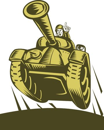 world war two: illustration of a Battle tank flying with soldier pointing forward