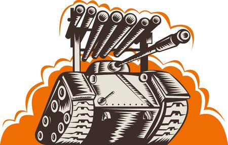 world war two: illustration of a Battle tank with rocket launcher