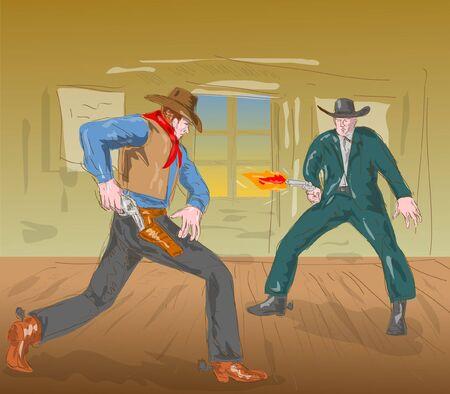 Two cowboys in a gunfight photo