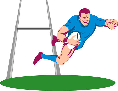 Rugby player diving to score between the post Stock Vector - 5745326