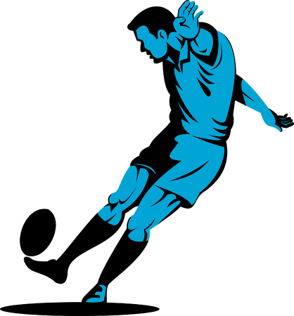 Rugby player kicking the ball Stock Vector - 5745322