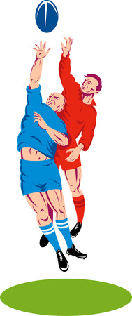 Rugby player catching a lineout throw Stock Vector - 5745321
