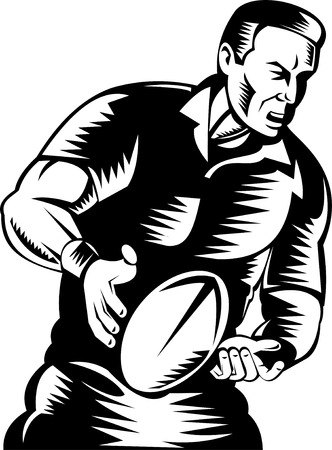 rugby player:  Rugby player about to pass the ball
