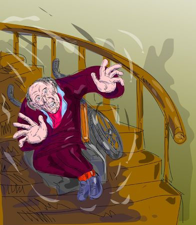 falling down: illustration of an old man falling down the stairs Stock Photo