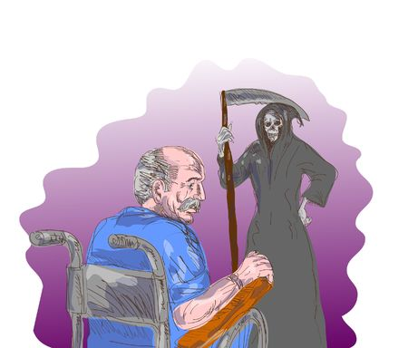 illustration of an elderly man facing death, the grim reaper illustration
