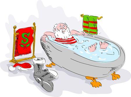cartoon illustration of santa in bath tub relaxing illustration
