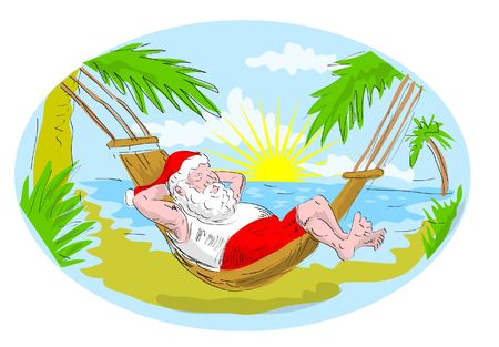 cartoon illustration of santa claus in hammock relaxing in tropical beach Stock Illustration - 5790438