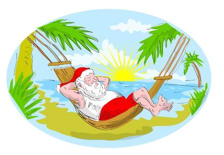 hammock: cartoon illustration of santa claus in hammock relaxing in tropical beach
