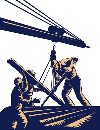 hoisting: group of Construction workers hoisting timber on boom done in woodcut style. Stock Photo