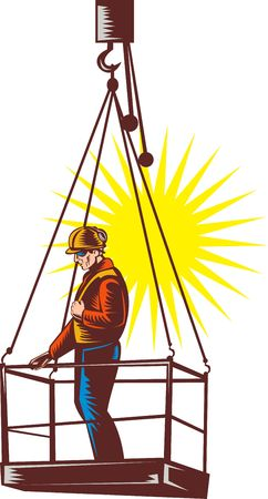 girders: Construction worker on platform being hoisted up done in retro woodcut style. Stock Photo