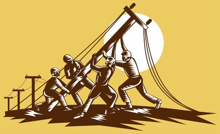 lineman: Team of linemen raising up electricity post done in reteo woodcut style.
