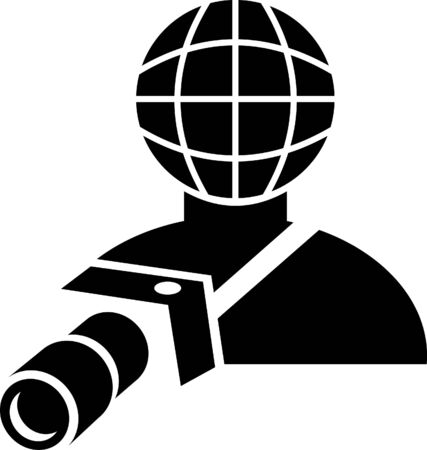 photography logo: sign or symbol of a global photographer holding a camera Stock Photo
