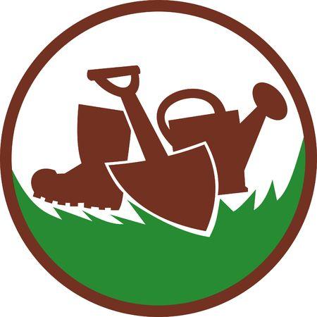 paysagiste: icône ou symbole de paysage jardinier, horticulture, montrant un arrosoir, pelle et gumboots.