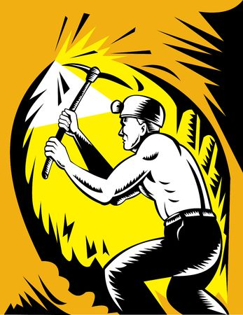 ax man: Coal miner at work with pick ax done in woodcut style Stock Photo