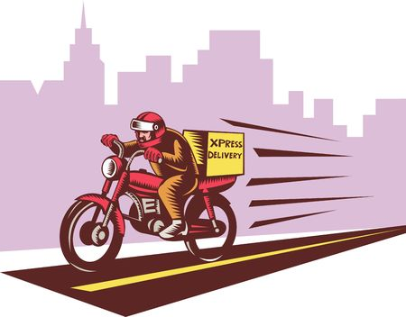courier: Courier delivery person riding motorbike done in woodcut style