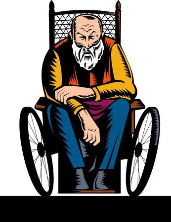 lame: elderly handicapped man sitting on wheelchair Stock Photo